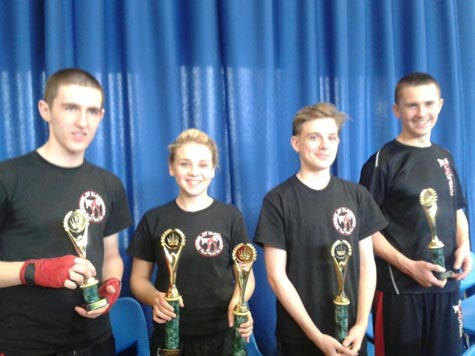 Winners in the light continuous kickboxing tournament